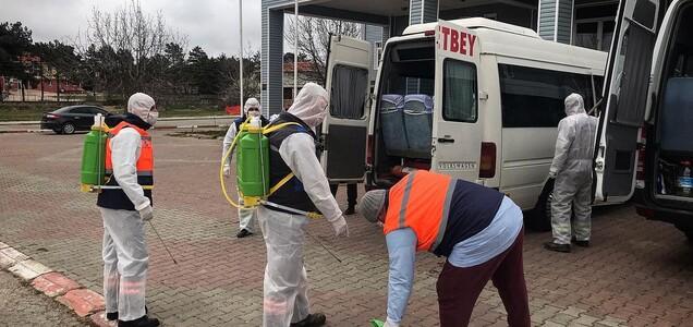 18 araç, Belediye çalışanlarımızca dezenfekte edilmiştir.